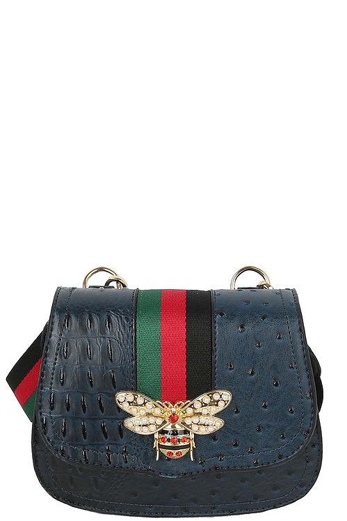 Ostrich Croc Queen Bee Stripe Saddle Crossbody Bag - Blue