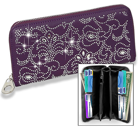 Rhinestone Design Accordion Wallet Purple