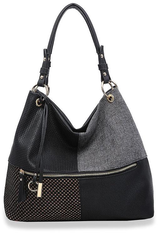 Four Square Design Textured Hobo Handbag