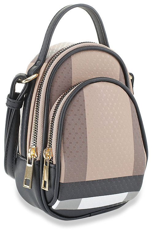 Classic Plaid Print Sling Crossbody Pack Brown