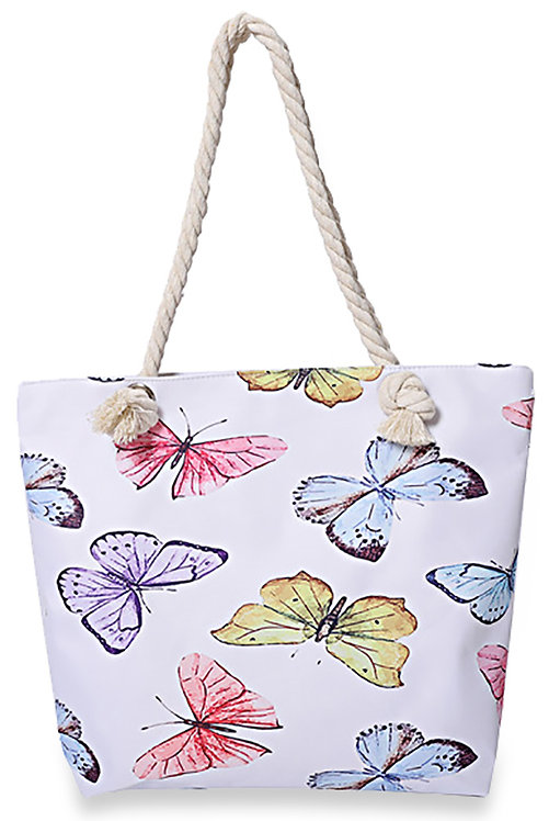 Butterfly Print Canvas Beach Tote