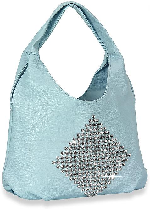Diamond Pattern Shoulder Bag Blue