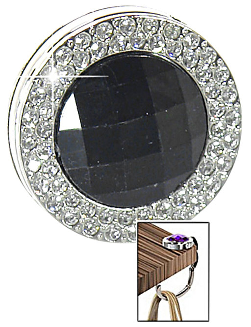 Textured Gem Design Purse Hanger - Black