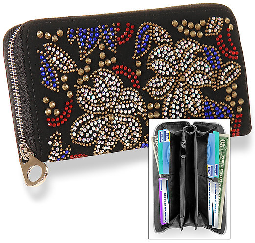 Colorful Rhinestone Patterned Accordion Wallet