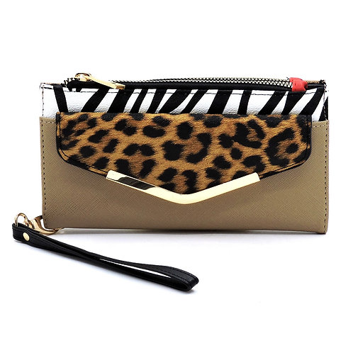 Colorblock Leopard Zebra Bifold Envelope Wallet Wristlet