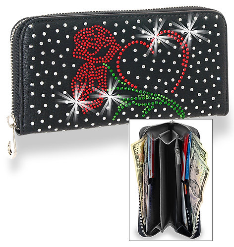 Heart and Rose Rhinestone Wallet