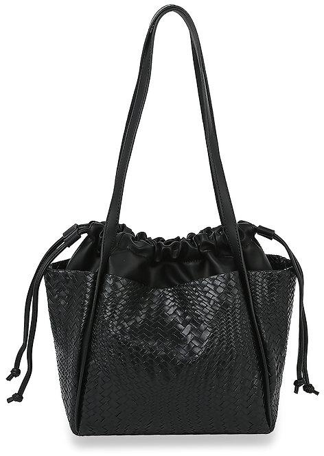 Drawstring Woven Shoulder Bag