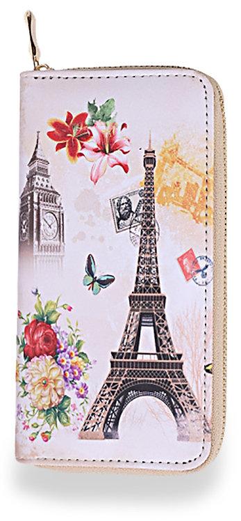 Eiffel Tower Multi Accordion Wallet Pink