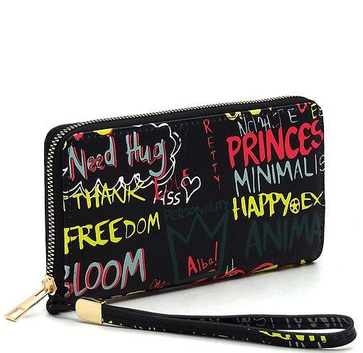 Multi Graffiti Print Zip Around Wallet Wristlet - Black