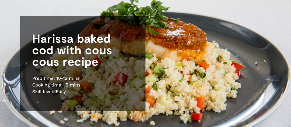 HARISSA BAKED COD WITH COUS COUS