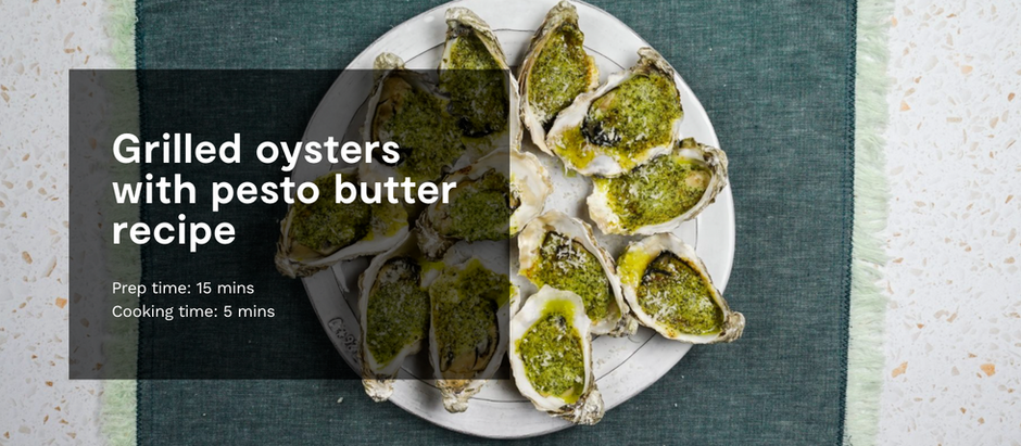 GRILLED OYSTERS WITH PESTO BUTTER