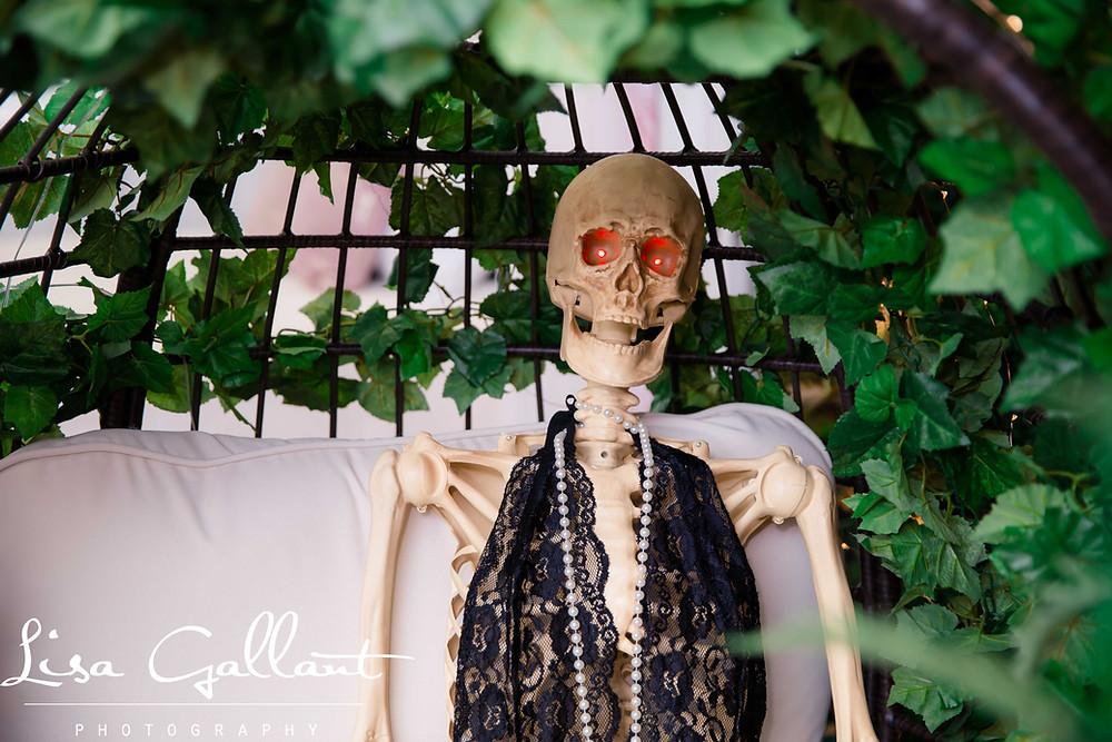 Skeleton Boudoir in egg chair, Summerville SC
