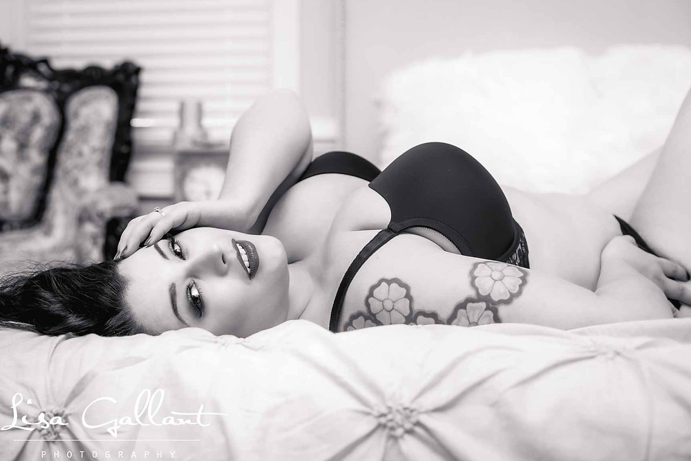 Black and White of woman on Bed lingerie, Charleston