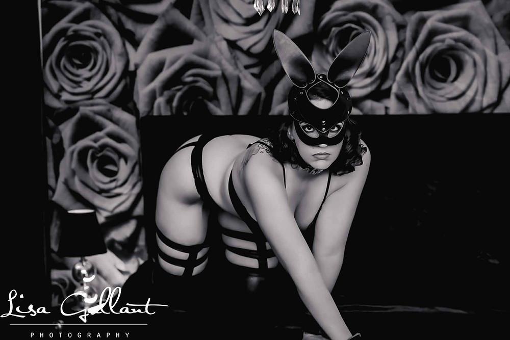 BDSM Woman on bed, Charleston Boudoir