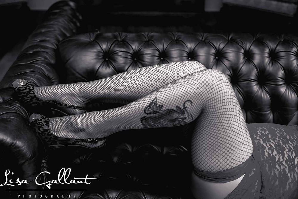 Woman in Fishnet Stockings on Sofa, Charleston Boudoir