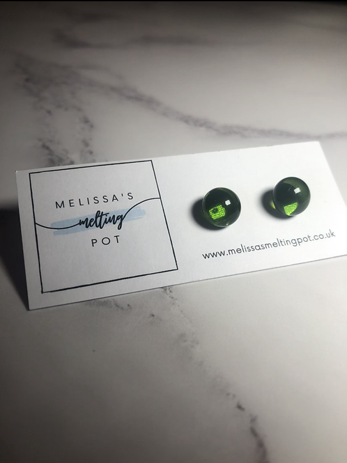 Olive Green Fused Glass Earrings (#2)