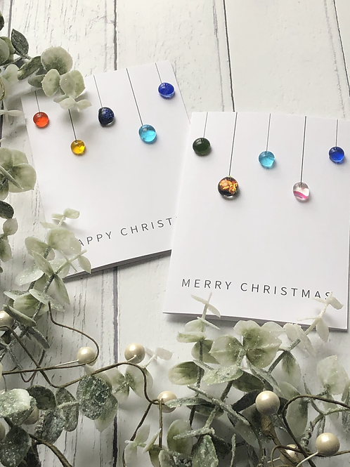 Christmas Card with Fused Glass Baubles