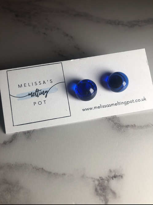 Royal Blue Fused Glass Earrings (#6)
