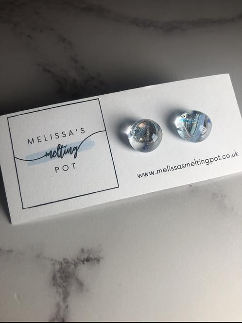 Confetti Blue Fused Glass Earrings (#8)