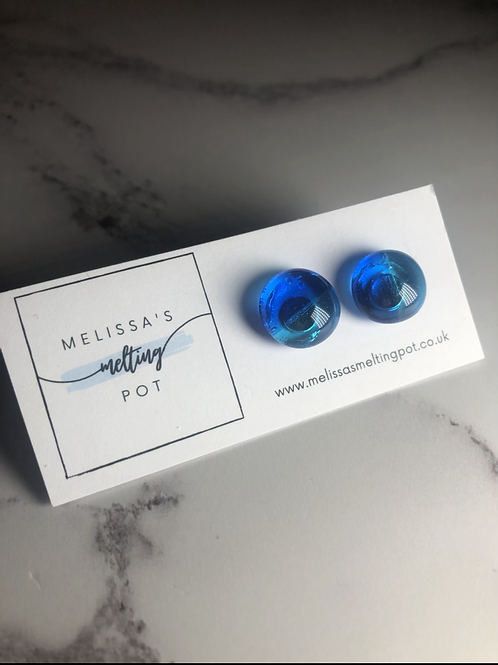 Blue Lagoon Fused Glass Earrings (#9)