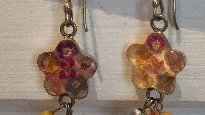 acrylic flower drop earrings