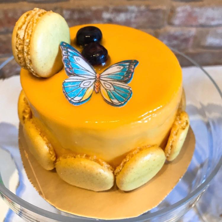 Lemon Sponge and Mango Mousse Cake
