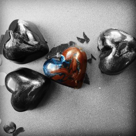"""Almost Blue"" Saffron Dark Chocolate Heart - Our Dedication to Chet Baker"
