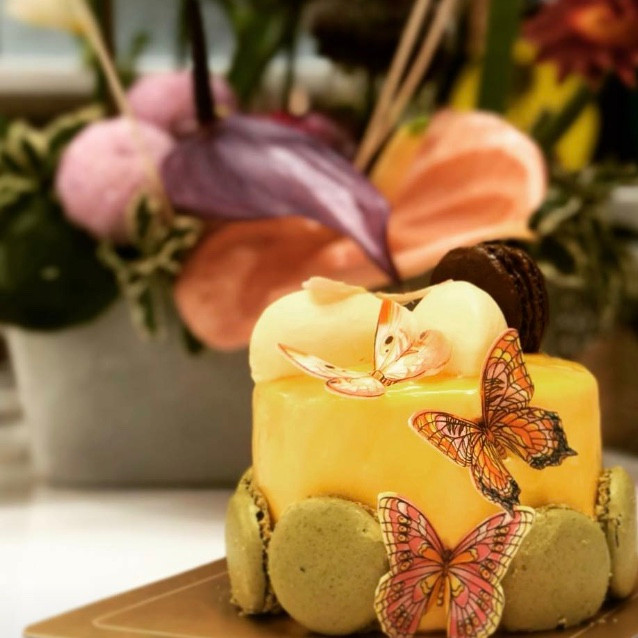 Orange Sponge, Passionfruit Mousse Cake