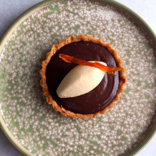 Chocolate Tart with Caramel Mousse