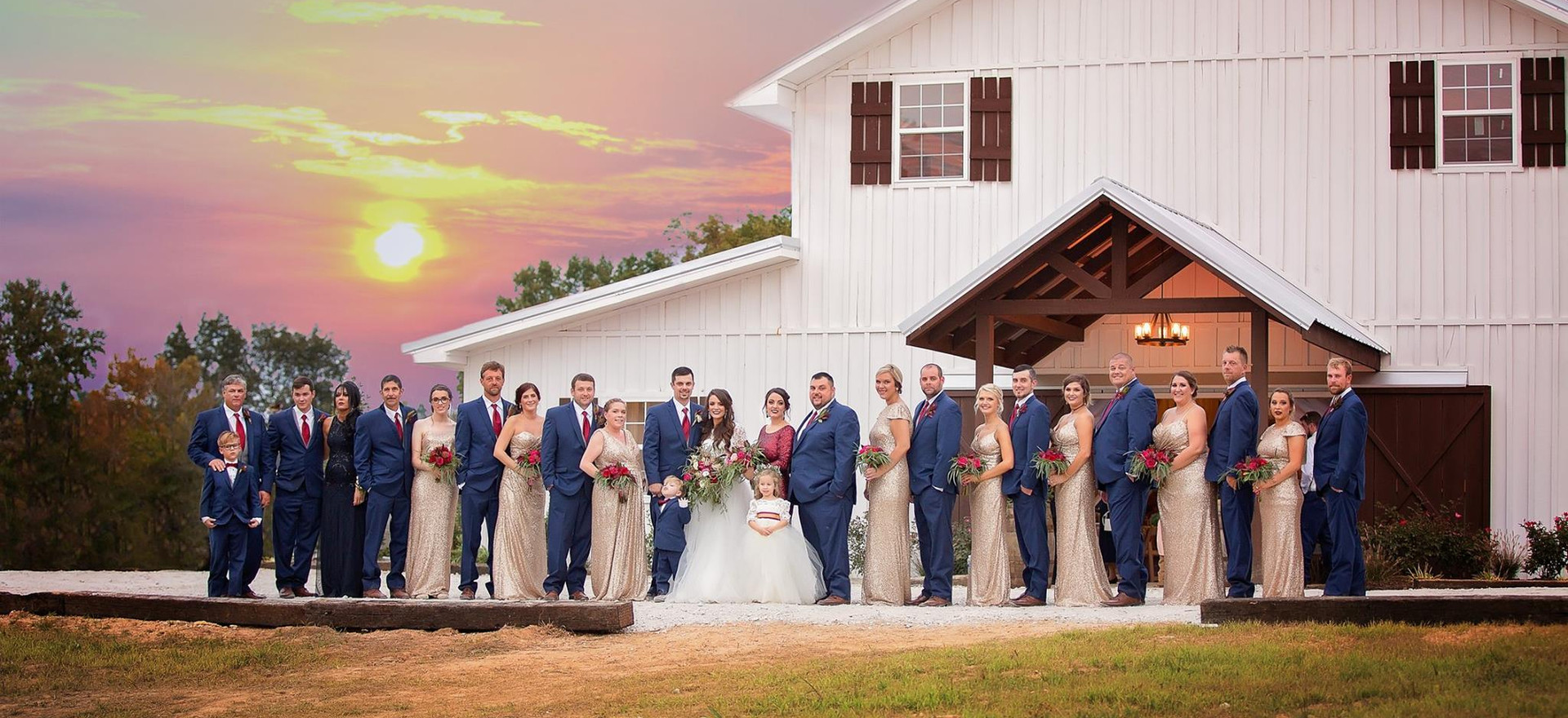 Wedding Picture in Front of Barn