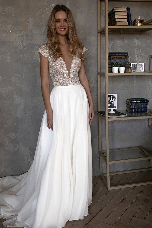 Сhiffon lace wedding dress Aviv Fly by Olivia Bottega cap sleeves. Beading lace. Open back. Boho wedding dress. Aline wedding