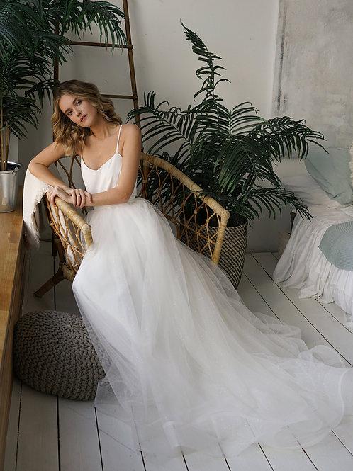 Wedding dress Prue Shine. A-line dress with separate lush sparkly skirt. Soft Tulle laconic minimalist wedding dress.