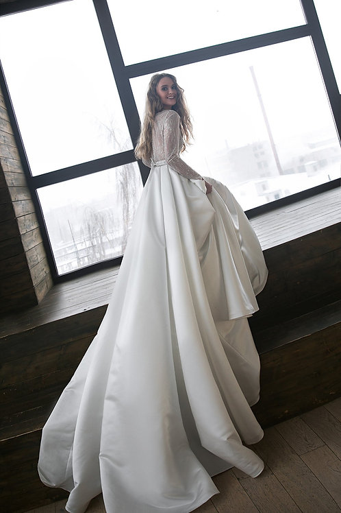 Glitter tulle wedding dress OB2102 by Olivia Bottega, sutin skirt wedding dress, long sleeves wedding dress.