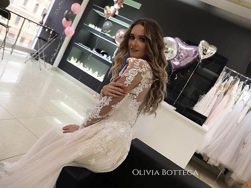 Lace wedding dress Rosby by Olivia Bottega. Long sleeve wedding dress. Open back wedding dress. A line wedding dress.