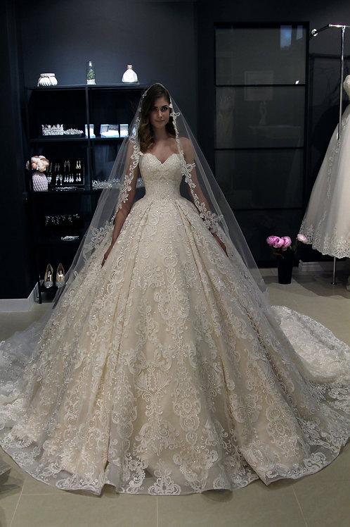 Off the shoulder, Princess wedding dress Elmi by Olivia Bottega. Lace up back wedding dress. Whole lace wedding dress. Ball w