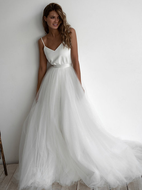 Wedding dress Prue Shine. A-line dress with separate lush sparkly skirt. Soft Tulle laconic minimalist wedding dress.