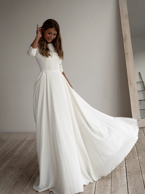 Romantic wedding dress Adri. Minimalist dress Long sleeves Crepe dress Romantic bridal Chiffon dress Elegant Boat.