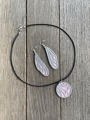 Butterfly Necklace & Earring Set - Light Pink