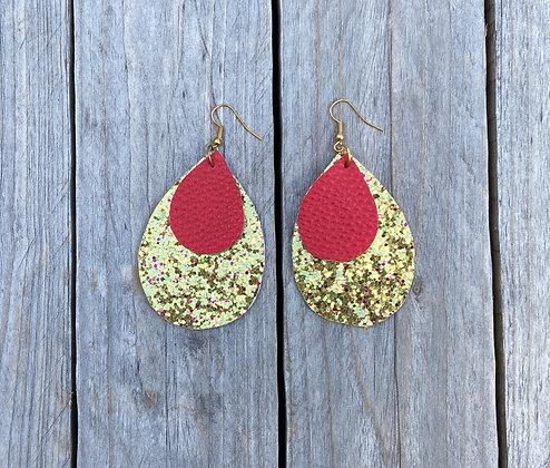 Gold & Red Teardrop Earrings