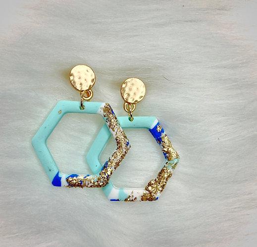 Hexagon Gold Dangle Earrings