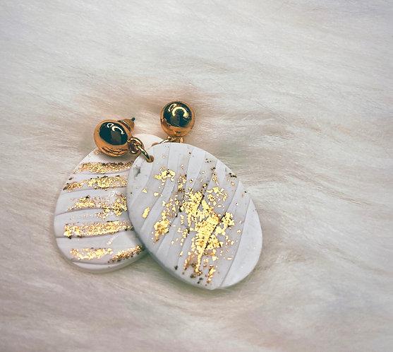 Gold Glitter & White Dangle Earrings