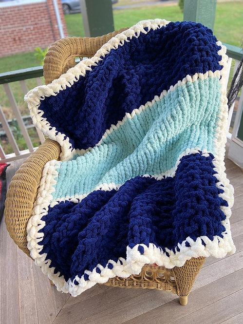 Misty Blue Chunky Knit Blanket