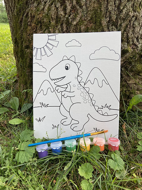 Dino Canvas Paint Set