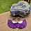 Thumbnail: Frayed Purple & Silver Dangle Earrings