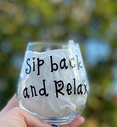 Sip Back & Relax Turtle Wine Glass