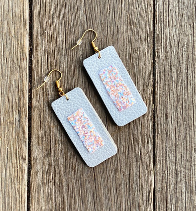 Silver & Pink Sparkly Dangle Earrings