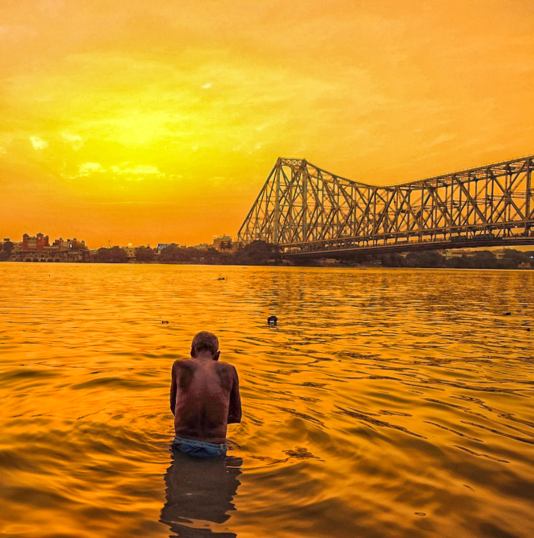 Howrath Bridge at Sunset Kolkata