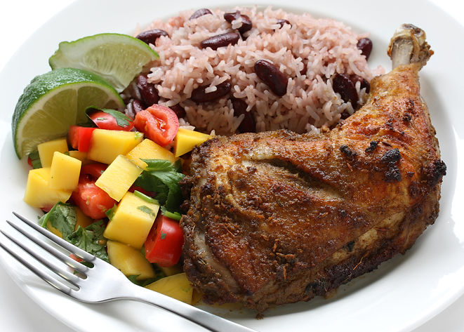 jerk chicken plate, jamaican food.jpg