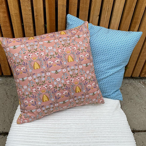 Cushion - Queen bee's, bee hives, crowns and flowers on peach and dark cream. 10