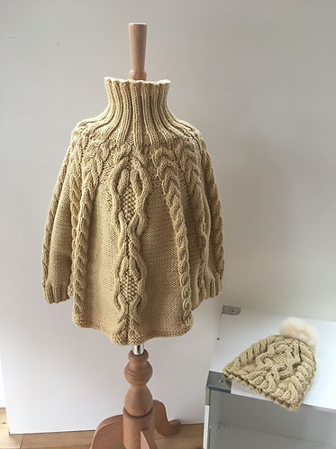 Girls Cable Design Poncho & matching hat.